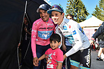 Race leader Richard Carapaz (ECU) Movistar Team with his son and Miguel Angel Lopez Moreno (COL) Astana Pro Team at the end of Stage 20 of the 2019 Giro d'Italia, running 194km from Feltre to Croce d'Aune-Monte Avena, Italy. 1st June 2019<br /> Picture: Massimo Paolone/LaPresse | Cyclefile<br /> <br /> All photos usage must carry mandatory copyright credit (© Cyclefile | Massimo Paolone/LaPresse)