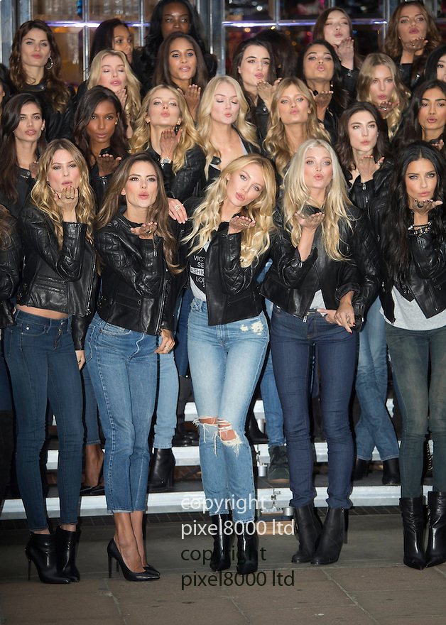 Pic shows:  47 Victoria's Secret Models pose up to promote the store in Bond Street London and the Fashion Show tomorrow.  <br /> <br /> Models included Candice Swanepoel, Karie Kloss, Lily Aldridge, Adriana Lima, Alessandara Ambrosio, Doutzen Kroes, Behati Prinsloo and Elsa Hosk<br /> <br /> <br /> <br /> <br /> Pic by Gavin Rodgers/Pixel 8000 Ltd