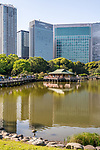 The Hamarikyu Gardens in Chūō, Tokyo, Japan. The park is a 250,165 m² landscaped garden surrounding Shioiri Pond.
