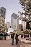 Spring trees in bloom at Millennium Park, Chicago, IL, USA