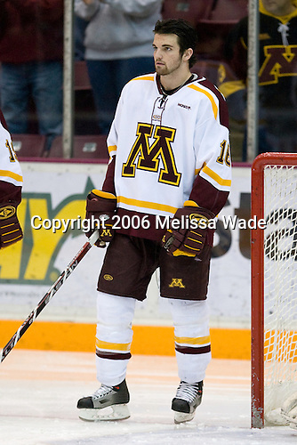 Mike Carman (University of Minnesota - Apple Valley, MN) lines up. The University of Minnesota Golden Gophers defeated the Michigan State University Spartans 5-4 on Friday, November 24, 2006 at Mariucci Arena in Minneapolis, Minnesota, as part of the College Hockey Showcase.