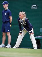 England, London, 28.06.2014. Tennis, Wimbledon, AELTC, Lineswoman and ballboy<br /> Photo: Tennisimages/Henk Koster