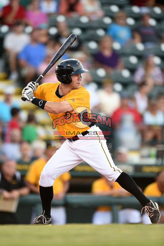 Bradenton Marauders outfielder Jonathan Schwind (13) at bat during a game against the Palm Beach Cardinals on June 23, 2014 at McKechnie Field in Bradenton, Florida.  Bradenton defeated Palm Beach 11-6.  (Mike Janes/Four Seam Images)