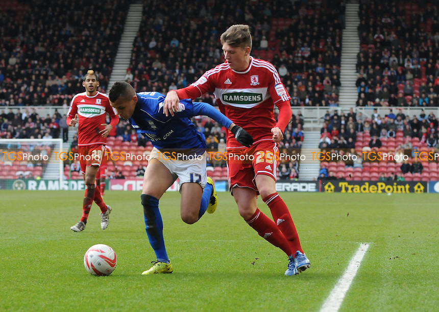Adam Reach of Middlesbrough (r) battles with Ravel Morrison (l) of Birmingham City - Middlesbrough vs Birmingham City - NPower Championship Football at the Riverside Stadium, Middlesbrough - 16/03/13 - MANDATORY CREDIT: Steven White/TGSPHOTO - Self billing applies where appropriate - 0845 094 6026 - contact@tgsphoto.co.uk - NO UNPAID USE.
