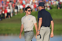 Rory McIlroy (Team Europe) chats with Davis Love III, Team USA Ryder Cup Captain,  during the Saturday Afternoon Four-Balls, at the 41st Ryder Cup 2016, at Hazeltine National Golf Club, Minnesota, USA.  01View of the 10th2016. Picture: David Lloyd | Golffile.