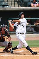 Charleston Riverdogs infielder Kevin Mahoney #26 at bat during a game against the Delmarva Shorebirds at Joseph P. Riley Ballpark in Charleston, South Carolina on July 10, 2011. Charleston defeated Delmarva 2-0.   Robert Gurganus/Four Seam Images