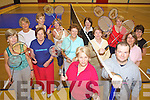 GAME, SET & MATCH: Members of the Ladies Badminton Club in Killorglin who are holding a number of open night, front l-r: Pat O'Donoghue, Wayne Doyle (Badminton Ireland) with Mary Walsh, Doreen Moriarty, Sheelagh Yeates, Marie Claire Stacey, Noreen McGillycuddy, Margaret O'Sullivan, Josephine Roder, Finola Geary, Cathy Kelliher, Geraldine Foyle, Brigid Moran.