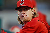 Jered Weaver #36 of the Los Angeles Angels during a game against the St. Louis Cardinals at Angel Stadium on July 3, 2013 in Anaheim, California. (Larry Goren/Four Seam Images)
