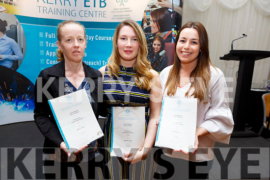 Bernie O'Connell, Rosaleen O'Reilly and Megan Moriarty graduating at the ETB Graduation ceremony in the Rose Hotel on Thursday evening.