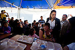 Guatemala Vice President Roxana Baldetti visits emergency relief tent in San Marcos.