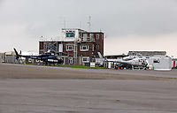 Pictured: The BBC News HD and Sky News helicopters at Swansea airport. 16 September 2011<br />