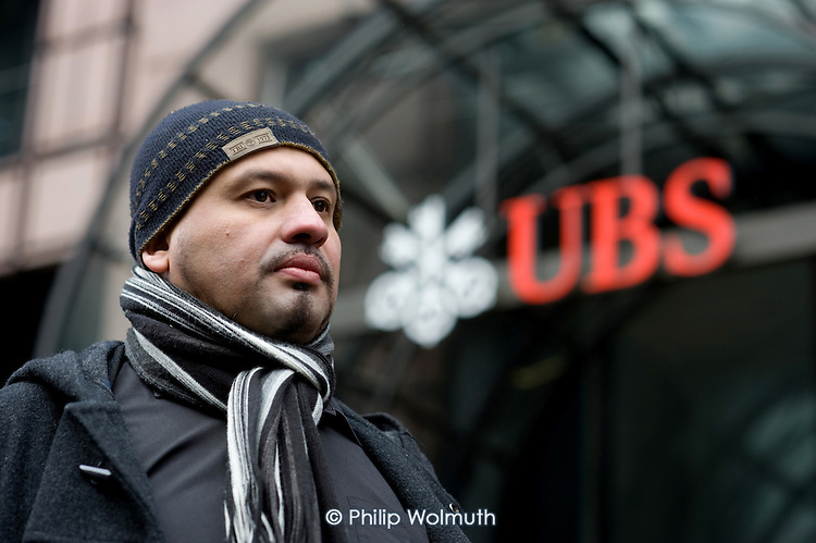 Alberto Durango, a member of UNITE and the Latin American Workers Association, outside the London headquarters of Swiss bank UBS, where he worked as a cleaner until being sacked by contractor Lancaster Cleaning and Support Services following a campaign for improved pay and conditions.