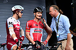 Alexander Kristoff (NOR) Katusha Alpecin and Andre Greipel (GER) Lotto-Soudal at sign on before the start of Stage 21 of the 104th edition of the Tour de France 2017, an individual time trial running 1.3km from Montgeron to Paris Champs-Elysees, France. 23rd July 2017.<br /> Picture: ASO/Alex Broadway | Cyclefile<br /> <br /> <br /> All photos usage must carry mandatory copyright credit (&copy; Cyclefile | ASO/Alex Broadway)