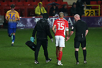 Darren Pratley of Charlton leaves the field in the second half after suffering an injury during Charlton Athletic vs Mansfield Town, Emirates FA Cup Football at The Valley on 20th November 2018