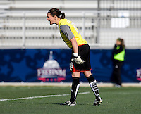 Erin McLeod of the Washington Freedom yells to her team during their preseason game at the Maryland SoccerPlex in Germantown, Maryland.