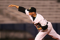 Western Michigan Broncos pitcher Chris Bossenbery #34 delivers a pitch during a game against the Illinois State Redbirds at Chain of Lakes Stadium on March 10, 2012 in Winter Haven, Florida.  Illinois State defeated Western Michigan 10-9.  (Mike Janes/Four Seam Images)