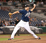 Reno Aces starting pitcher Zach Kroenke throws against the Round Rock Express during their game on Thursday night August 16, 2012 at Aces Ballpark in Reno NV.