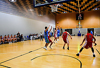 Action from the 2017 Under-23 National Basketball Championship men's final between Waikato Country (blue) and Canterbury at Te Rauparaha Arena in Porirua, New Zealand on Saturday, 5 August 2017. Photo: Dave Lintott / lintottphoto.co.nz