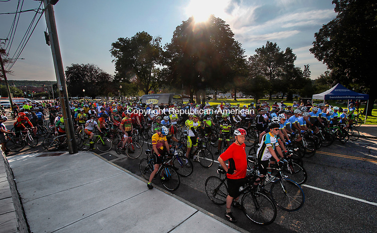 TORRINGTON, CT - 06 AUGUST 2017 - 080617JW03.jpg -- Cyclists taking part in the 75 and 55 mile rides fill Litchfield Street before the start during the 14th Annual Tour of Litchfield Hills bike ride Sunday morning at Coe Memorial Park. Funds raised from the over one thousand estimated riders was to be donated to the Cancer Care Fund of the Litchfield Hills, Inc. Jonathan Wilcox Republican-American