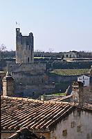 View over the town. Tour du Roy, King's Tower. The town. Saint Emilion, Bordeaux, France