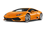 Stock pictures of low aggressive front three quarter view of 2015 Lamborghini Huracan LP 6104 2 Door Coupe Low Aggressive