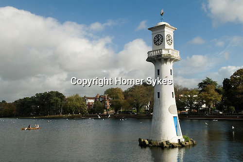 Cardiff Wales. Roath Lake and Lighthouse.