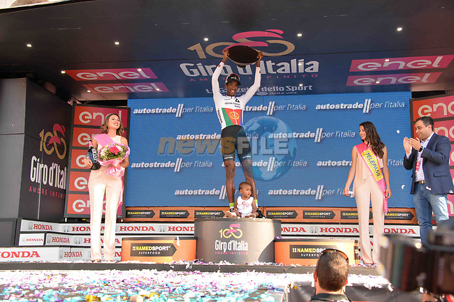 Daniel Teklehaimanot (ERI) Team Dimension Data wins the intermediate sprints classification at the end of Stage 21, the final stage of the 100th edition of the Giro d'Italia 2017, an individual time trial running 29.3km from Monza Autodrome to Milan Duomo, Italy. 28th May 2017.<br /> Picture: LaPresse/Gian Mattia D'Alberto | Cyclefile<br /> <br /> <br /> All photos usage must carry mandatory copyright credit (&copy; Cyclefile | LaPresse/Gian Mattia D'Alberto)