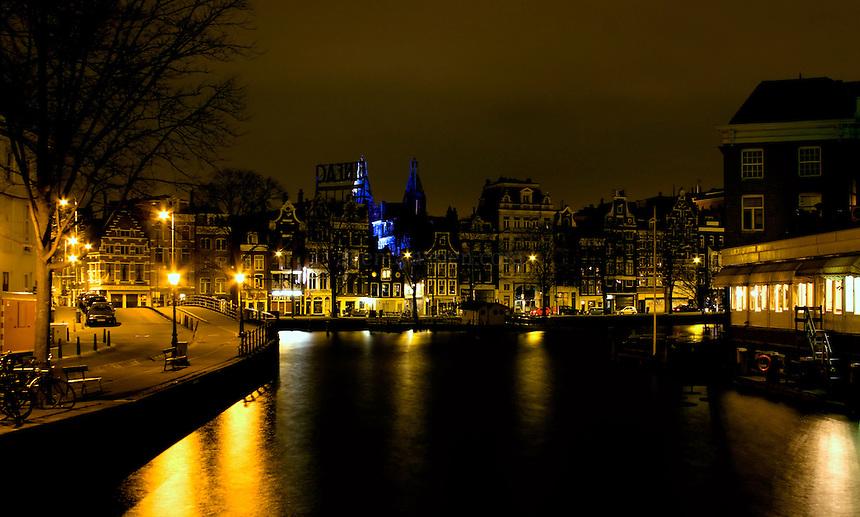 Tuschinski Theatre, Amsterdam, at night.