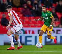12th February 2020; Bet365 Stadium, Stoke, Staffordshire, England; English Championship Football, Stoke City versus Preston North End; Scott Sinclair of Preston North End - Strictly Editorial Use Only. No use with unauthorized audio, video, data, fixture lists, club/league logos or 'live' services. Online in-match use limited to 120 images, no video emulation. No use in betting, games or single club/league/player publications
