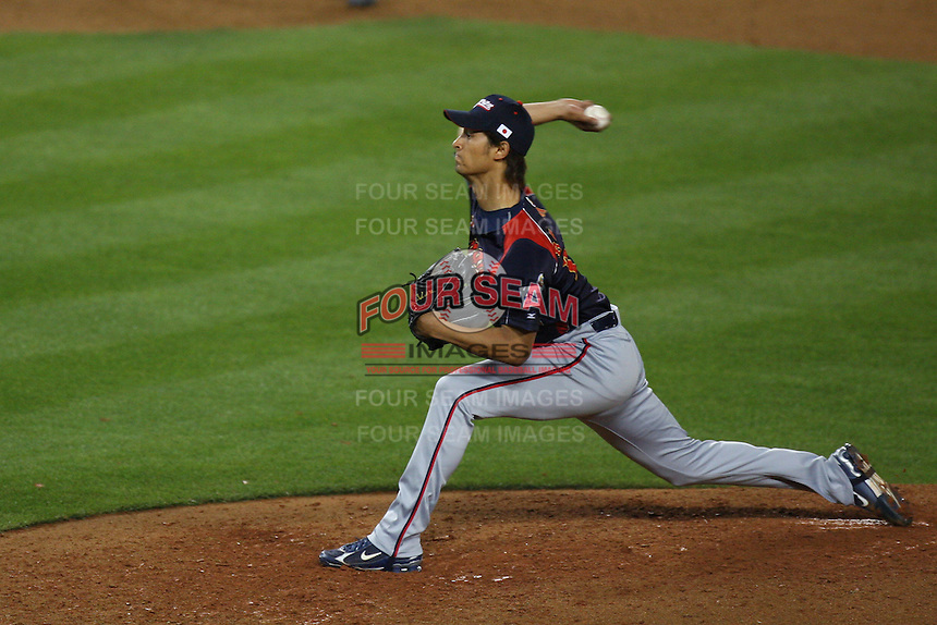 Yu Darvish of Japan during a game against Korea at the World Baseball Classic at Dodger Stadium on March 23, 2009 in Los Angeles, California. (Larry Goren/Four Seam Images)