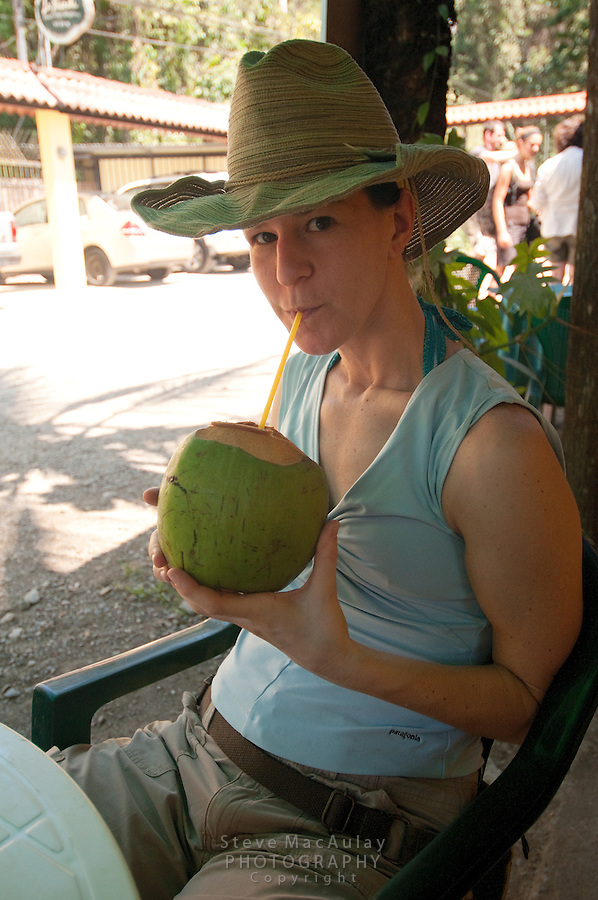 Enjoying a cool young fresh coconut, Manuel Antonio National Park, Costa Rica