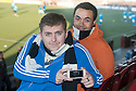 Shire fans Ryan Kidd and Charles Gallacher from Grangemouth keep up to date with the Sun Goals App.