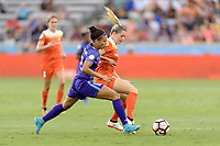 Houston, TX - Saturday June 17, 2017: Kristen Edmonds and Kealia Ohai battle for control of the ball during a regular season National Women's Soccer League (NWSL) match between the Houston Dash and the Orlando Pride at BBVA Compass Stadium.
