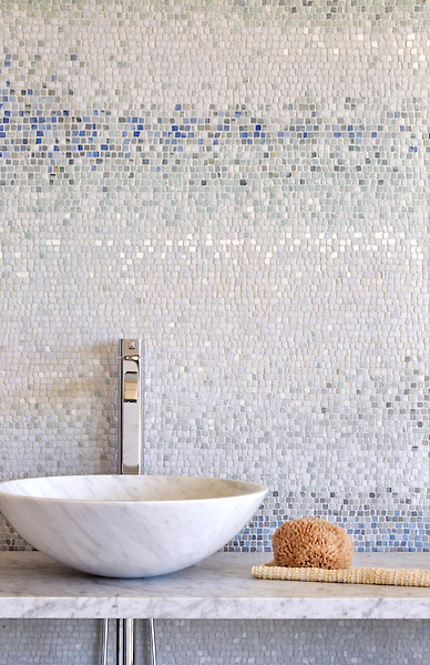 Mist, a handmade mosaic shown in tumbled Ming Green, Kays Green, Celeste, Calacatta, Blue Macauba and Lettuce Ming, is part of the Metamorphosis Collection by Sara Baldwin for New Ravenna.<br />