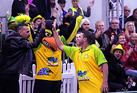 John Slavich (left) congratulates Aron Sherriff (Hawks) during the Bowls Premier League final between the Gold Coast Hawks and Brisbane Pirates at Naenae Bowling Club in Wellington, New Zealand on Thursday, 26 April 2018. Photo: Dave Lintott / lintottphoto.co.nz