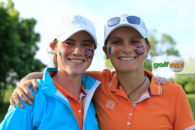 Leona Maguire and Charlotte Thomas win their game during the Saturday Afternoon Fourballs of the 2016 Curtis Cup at Dun Laoghaire Golf Club on Saturday 11th June 2016.<br /> Picture:  Golffile | Thos Caffrey