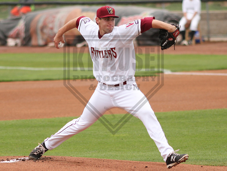 APPLETON - June 2015: Wisconsin Timber Rattlers pitcher David Burkhalter (24) during a Midwest League baseball game against the Cedar Rapids Kernels on June 30th, 2015 at Fox Cities Stadium in Appleton, Wisconsin. Cedar Rapids defeated Wisconsin 3-2. (Brad Krause/Krause Sports Photography)