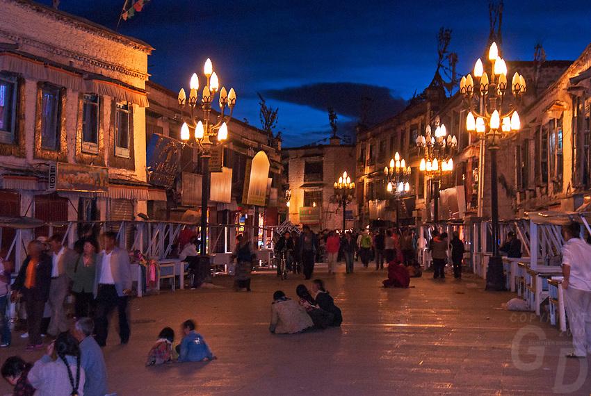 Night scene. Street life and scenes in Lhasa, Tibet