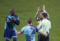 Adebayo Akinfenwa of Wycombe Wanderers receives a second yellow and is sent off during the Sky Bet League 2 match between Notts County and Wycombe Wanderers at Meadow Lane, Nottingham, England on 10 December 2016. Photo by Andy Rowland.
