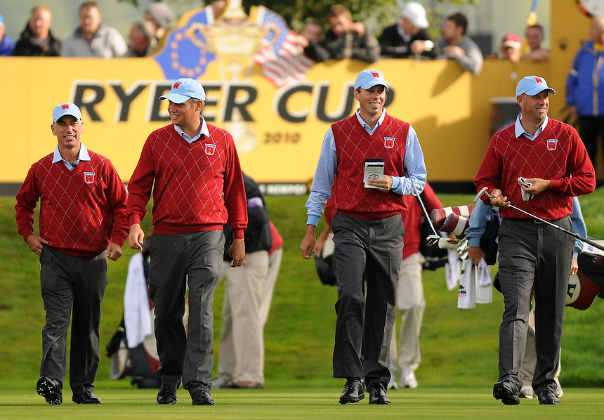 US Captain Corey Pavin walks with Jeff Overton, Matt Kuchar &amp; Stewart Cink<br /> <br /> Ryder Cup 2010 - Practice day 1 - 28th September 2010 - Celtic Manor Resort Newport, Wales.  Please Credit - Ian Cook - Sportingwales