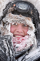 Aliy Zirkle is frosted up after arriving at the village checkpoint of Ruby in Interior Alaska during the 2010 Iditarod