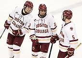 Michael Kim (BC - 4), Ron Greco (BC - 28), Casey Fitzgerald (BC - 5) - The Boston College Eagles defeated the visiting Providence College Friars 3-1 on Friday, October 28, 2016, at Kelley Rink in Conte Forum in Chestnut Hill, Massachusetts.The Boston College Eagles defeated the visiting Providence College Friars 3-1 on Friday, October 28, 2016, at Kelley Rink in Conte Forum in Chestnut Hill, Massachusetts.