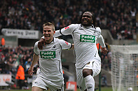 Pictured: Jason Scotland of Swansea (R) is celebrating his equalizer with team mate Mark Gower (L)<br /> Picture by D Legakis Photography / Athena Picture Agency, Swansea, 07815441513