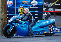 Jul 21, 2017; Morrison, CO, USA; NHRA pro stock motorcycle rider Andie Rawlings during qualifying for the Mile High Nationals at Bandimere Speedway. Mandatory Credit: Mark J. Rebilas-USA TODAY Sports