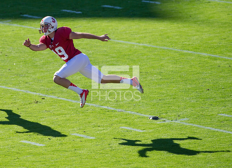 Stanford, CA -- October 27, 2012: Jordan Williamson kicks off during Stanford's game against Washington State at Stanford Stadium. The Cardinal defeated the Cougars  24 - 17.