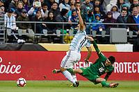 Seattle, WA - Tuesday June 14, 2016: Bolivia midfielder Pedro Azogue (15) slides into Argentina forward Sergio Aguero (11) during a Copa America Centenario Group D match between Argentina (ARG) and Bolivia (BOL) at CenturyLink Field