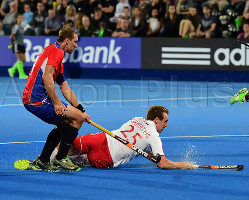 22.08.2015. Lea Valley, London, England. Unibet EuroHockey Championships Day 1 England versus Russia. Chris Griffiths (ENG) takes a diving shot