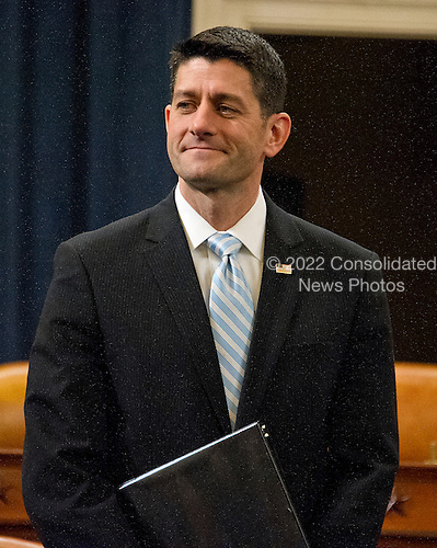 United States House Speaker Paul Ryan (Republican of Wisconsin) waits to deliver a speech on the &quot;State of American Politics&quot; to a bipartisan group of US House interns on Capitol Hill in Washington, DC on Wednesday, March 23, 2016.  In his remarks the Speaker said &quot;Politics can be about a battle of ideas, not insults.  It can be about solutions.  It can be about making a difference.&quot; <br /> Credit: Ron Sachs / CNP