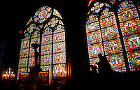 STAINED GLASS WINDOWS inside NOTRE DAME CATHEDRAL - PARIS, FRANCE