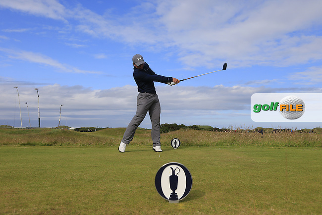 Paul DUNNE (AM)(IRL) tees off the 14th tee during Sunday's Round 3 of the 144th Open Championship, St Andrews Old Course, St Andrews, Fife, Scotland. 19/07/2015.<br /> Picture Eoin Clarke, www.golffile.ie
